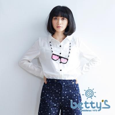betty's貝蒂思 前雙口袋長袖百搭襯衫(白色)