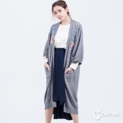 CANTWO日式和服刺繡長版罩衫(共二色)