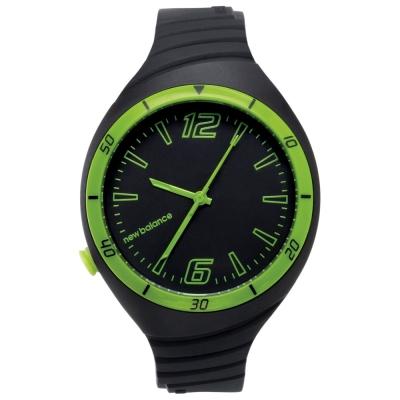 New Balance  502 系列 NB LOGO運動秒針矽膠造型錶-黑綠/ 40 mm