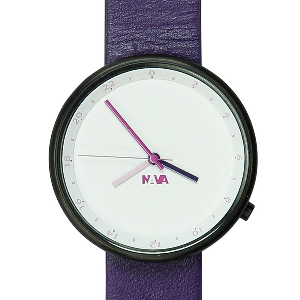 NAVA DESIGN Wherever 雙時區腕錶-紫/39mm