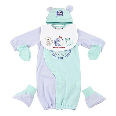 愛的世界 純棉動物園長袖兩用嬰衣5件組禮盒/3~6M