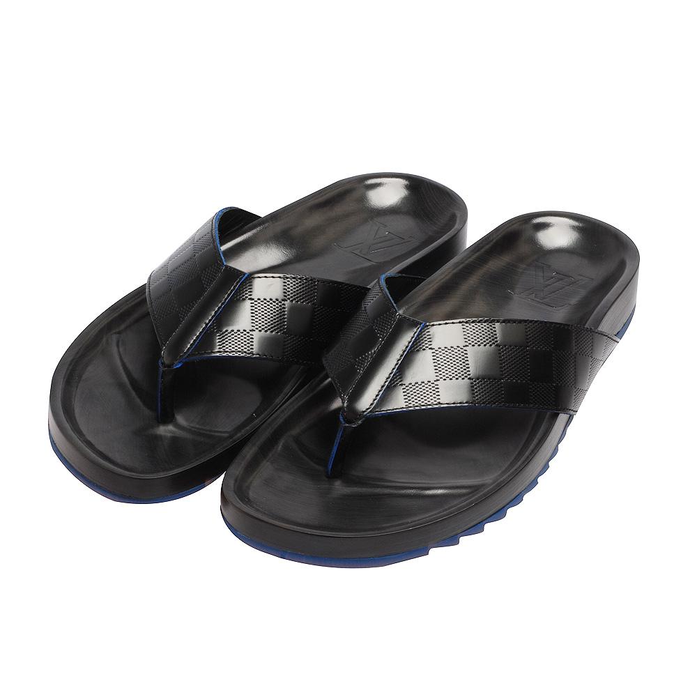 LV  M47234 POLYGON THONG棋盤格牛皮鋸齒底夾腳拖鞋(黑-8號)