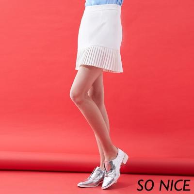 SO NICE氣質壓褶羅馬布褲裙-動態show