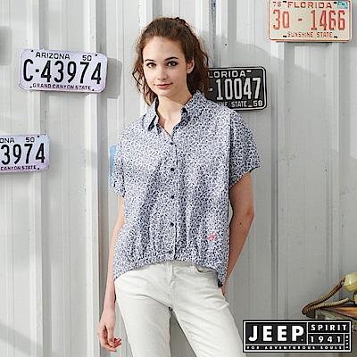 JEEP 女裝 復古滿版藤蔓花紋連袖短襯衫