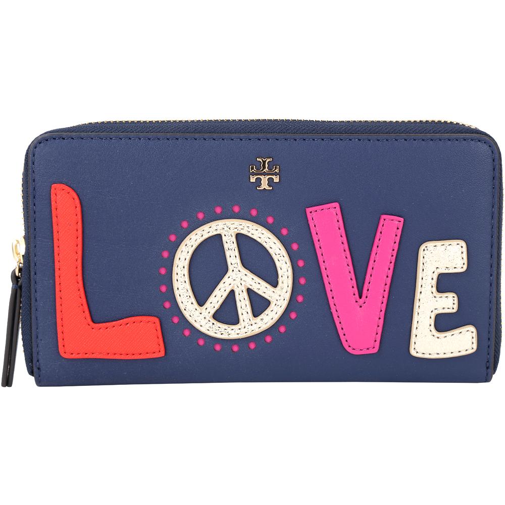 TORY BURCH Peace 愛與和平字母拼接拉鍊長夾(深藍色)
