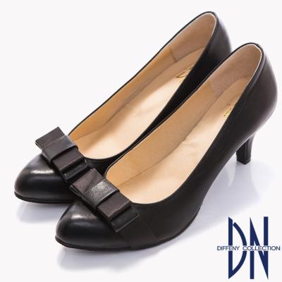 DN-經典淑女-MIT蝴蝶結拼接素面尖頭跟鞋-黑