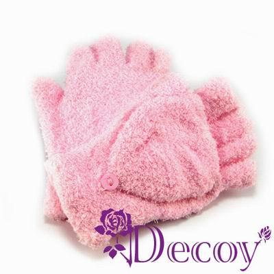 【Decoy】2ways珊瑚絨*機能露指手套/粉