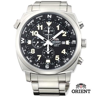 ORIENT 東方錶 東方霸王專業方位判定石英錶-黑色/45.5mm