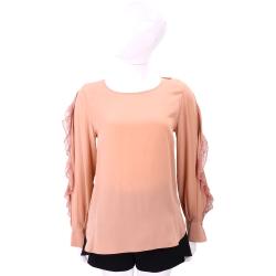 SEE BY CHLOE 粉橘色拼接蕾絲荷葉長袖上衣