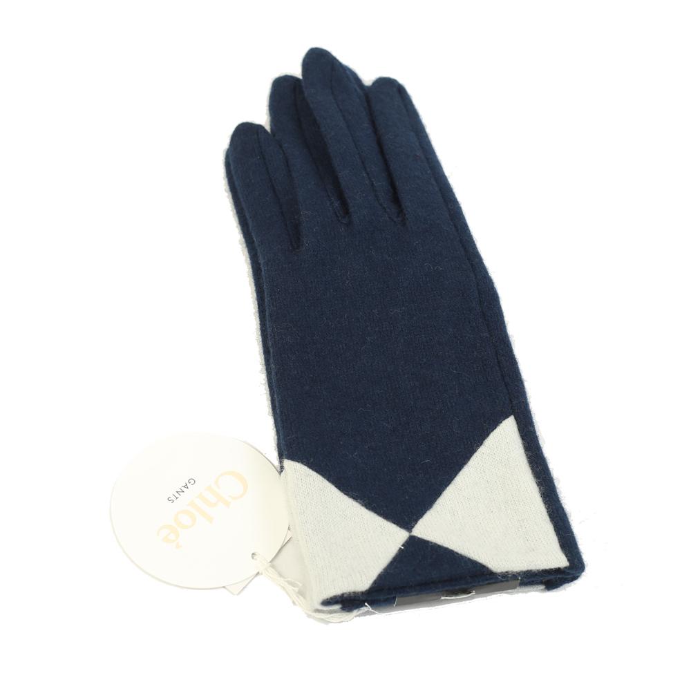 CHLOE 撞色混喀什米爾羊毛手套(深藍)