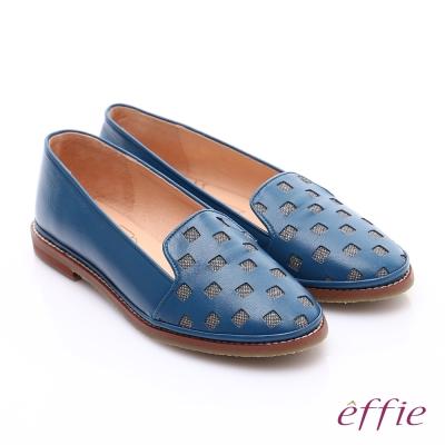 effie 俏麗悠活 全真皮馬賽克拼貼風樂福鞋 藍