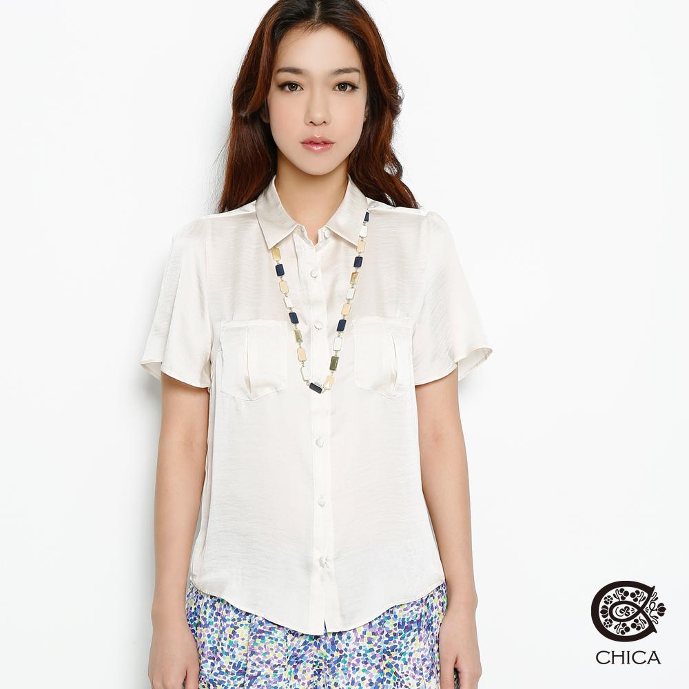 【CHICA】柔焦職人 絲滑軟緞口袋襯衫(共三色)