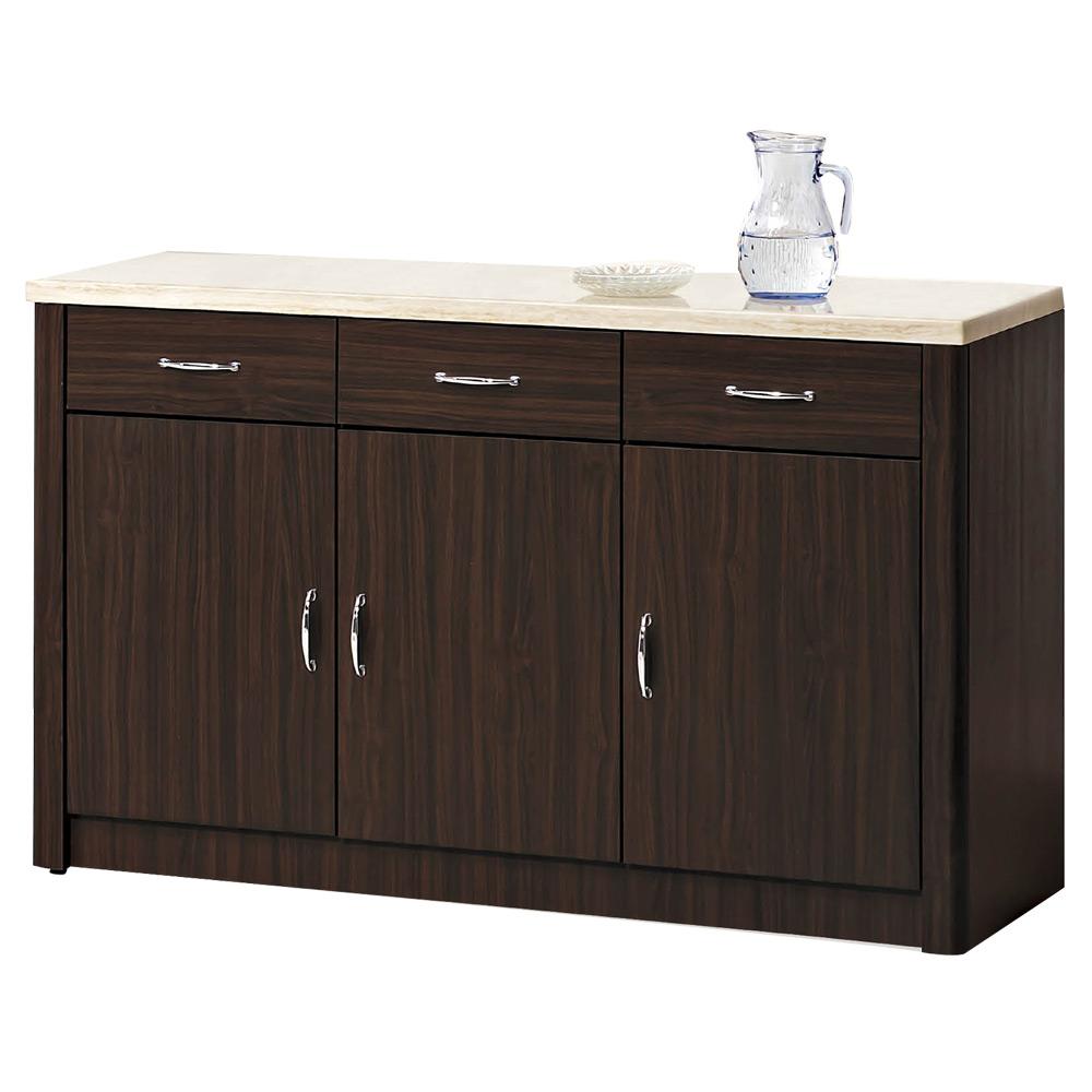 CASA卡莎 莉森胡桃色4尺仿石面碗盤櫃下座