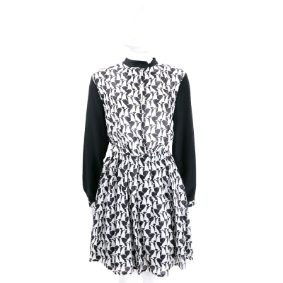 BLUGIRL-FOLIES 黑x白色動物圖騰雪紡長袖洋裝