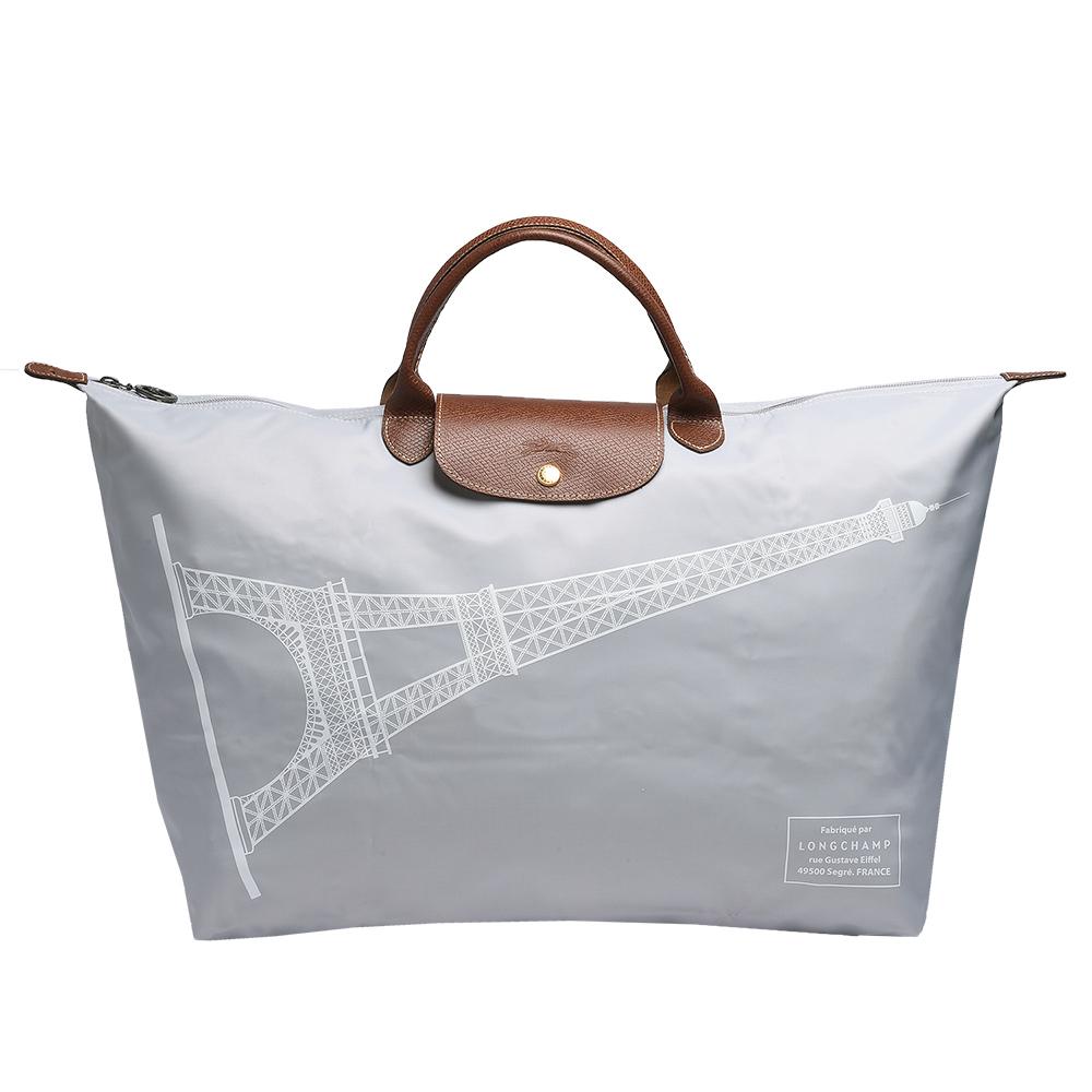 LONGCHAMP 巴黎鐵塔紀念款摺疊購物包(大-淺灰色)LONGCHAMP
