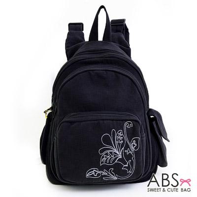 ABS貝斯貓 典雅花卉圖騰 小型雙肩後背包88-037 -優雅黑