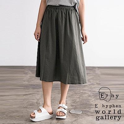 E hyphen 亞麻混紡基本版型膝下中長裙