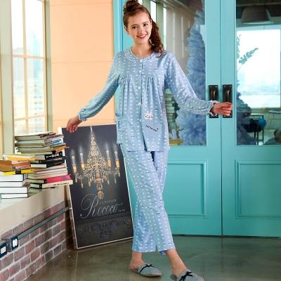 睡衣 精梳棉柔針織 長袖兩件式睡衣(67212)灰藍色 蕾妮塔塔