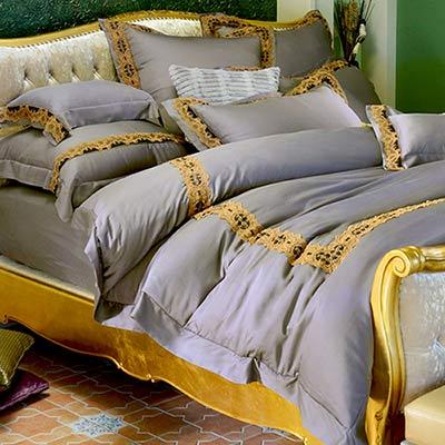 義大利La Belle 威廉王子 特大天絲蕾絲四件式防蹣抗菌舖棉兩用被床包組