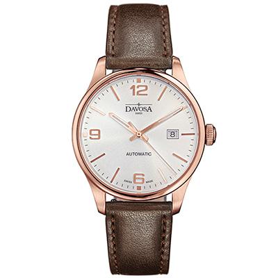 DAVOSA Gentlemen 現代經典紳士系列18K金色腕錶-白面/咖啡皮帶/40mm