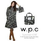 【w.p.c.】甜美花朵款。時尚雨衣/風衣(R1026)_(黑色)