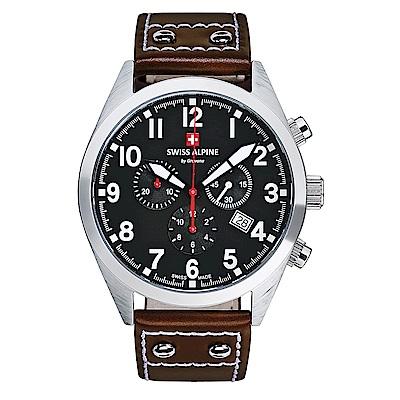 阿爾卑斯 S.A.M -獨家限定-指揮官系列三眼計時-黑錶盤/皮帶/43mm