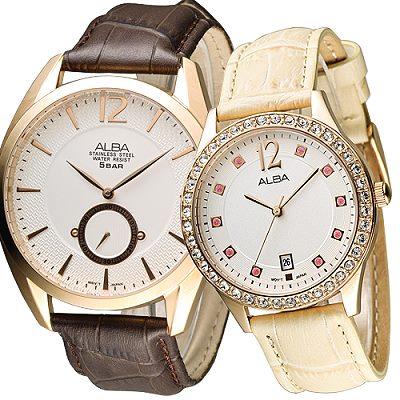 ALBA  風采絕代時尚情人對錶-玫瑰金(AN4048X1+AG8486X1)