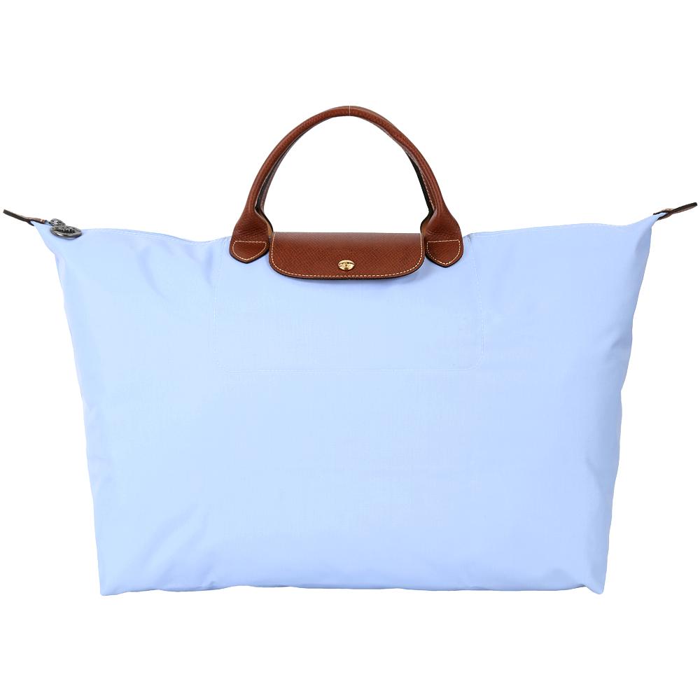 LONGCHAMP LE PLIAGE 淺藍色摺疊尼龍旅行袋(L/展示品)
