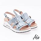 A.S.O 超能力 流蘇設計鏡面皮革奈米鞋墊休閒涼鞋 灰