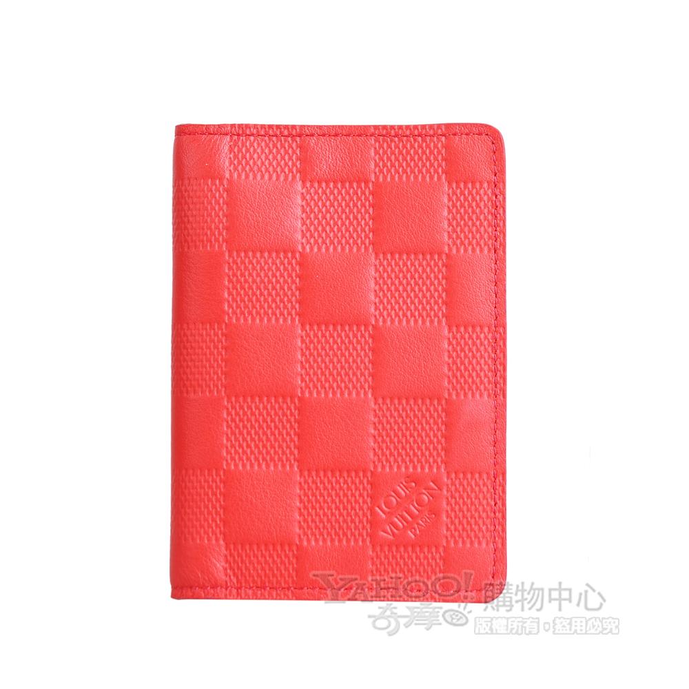 LV【N63013】經典Damier Infini皮革造型雙折萬用夾(橘紅)