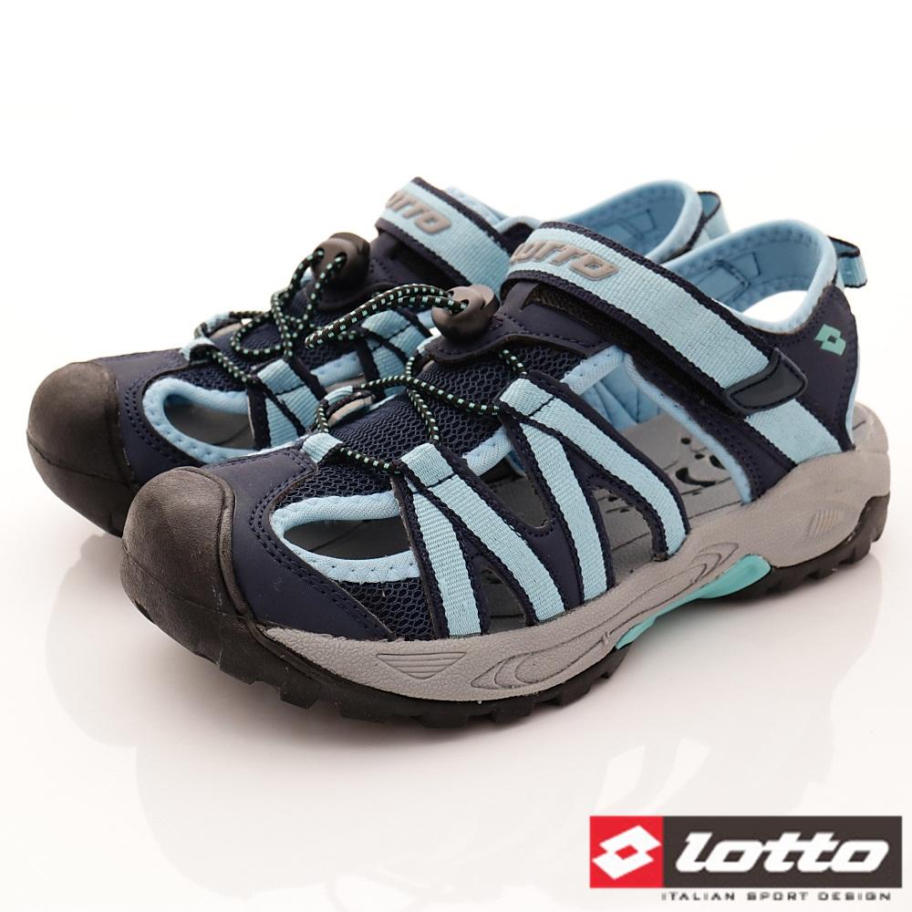 Lotto樂得-排水護趾涼鞋-SI366藍(女段)