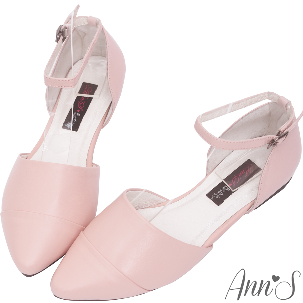 Ann'S柔軟綿羊皮繫帶側空尖頭平底鞋-粉
