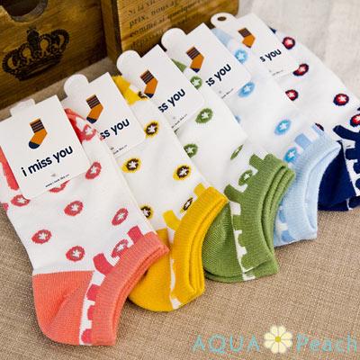 AQUA-Peach-滿版彩色太空船棉短襪隱形襪-1組五入