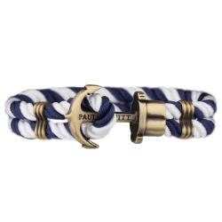 PAUL HEWITT 德國出品 PHREP 深藍白尼龍繩編織 古銅船錨手環