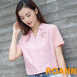 甜美縷空花紋短袖襯衫 (共二色)-ROANN