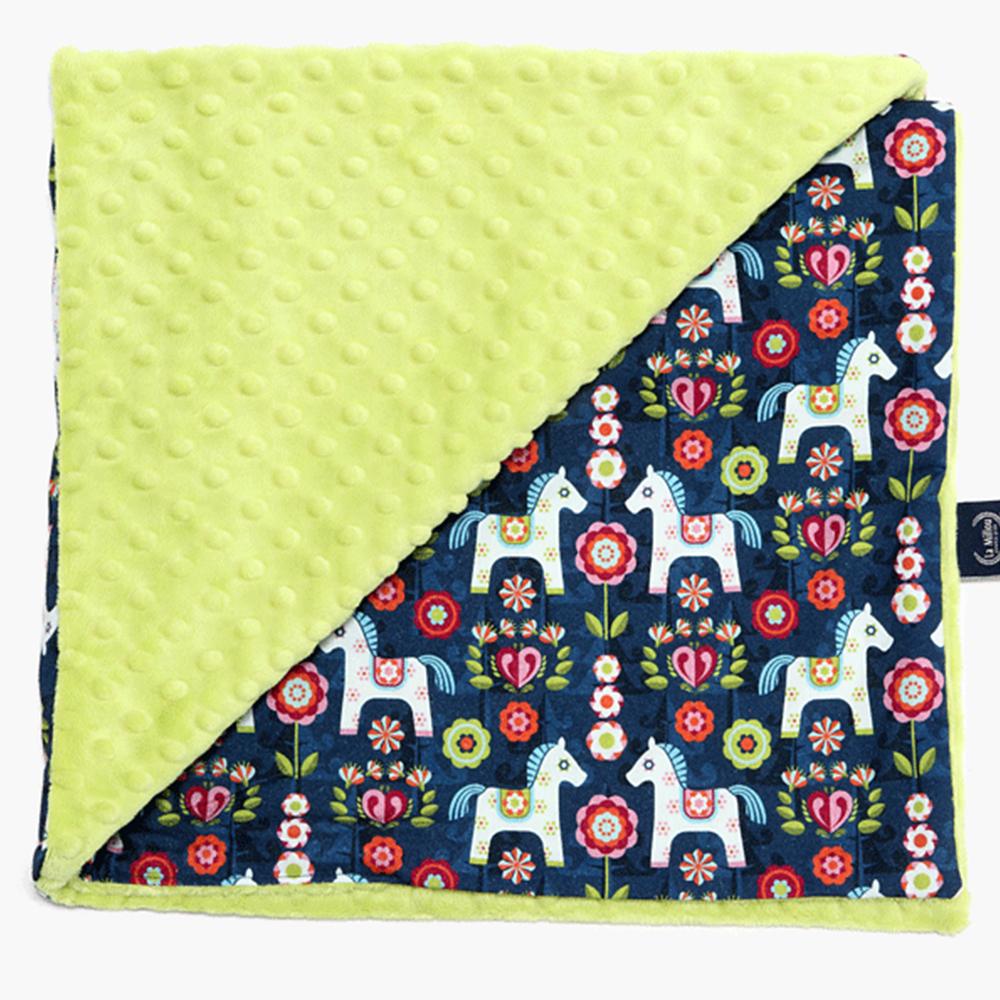 La Millou 單面巧柔豆豆毯(加大款)-花漾馬其朵(夏日檸檬綠)