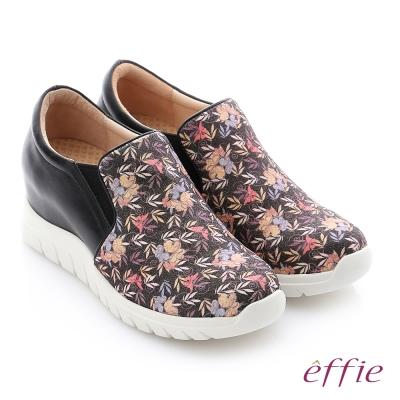 effie 彈力舒芙 碎花牛皮奈米內增高機能休閒鞋 黑色