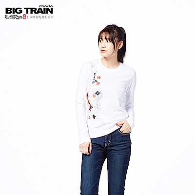 BIG TRAIN 流水楓金魚長袖-女-白