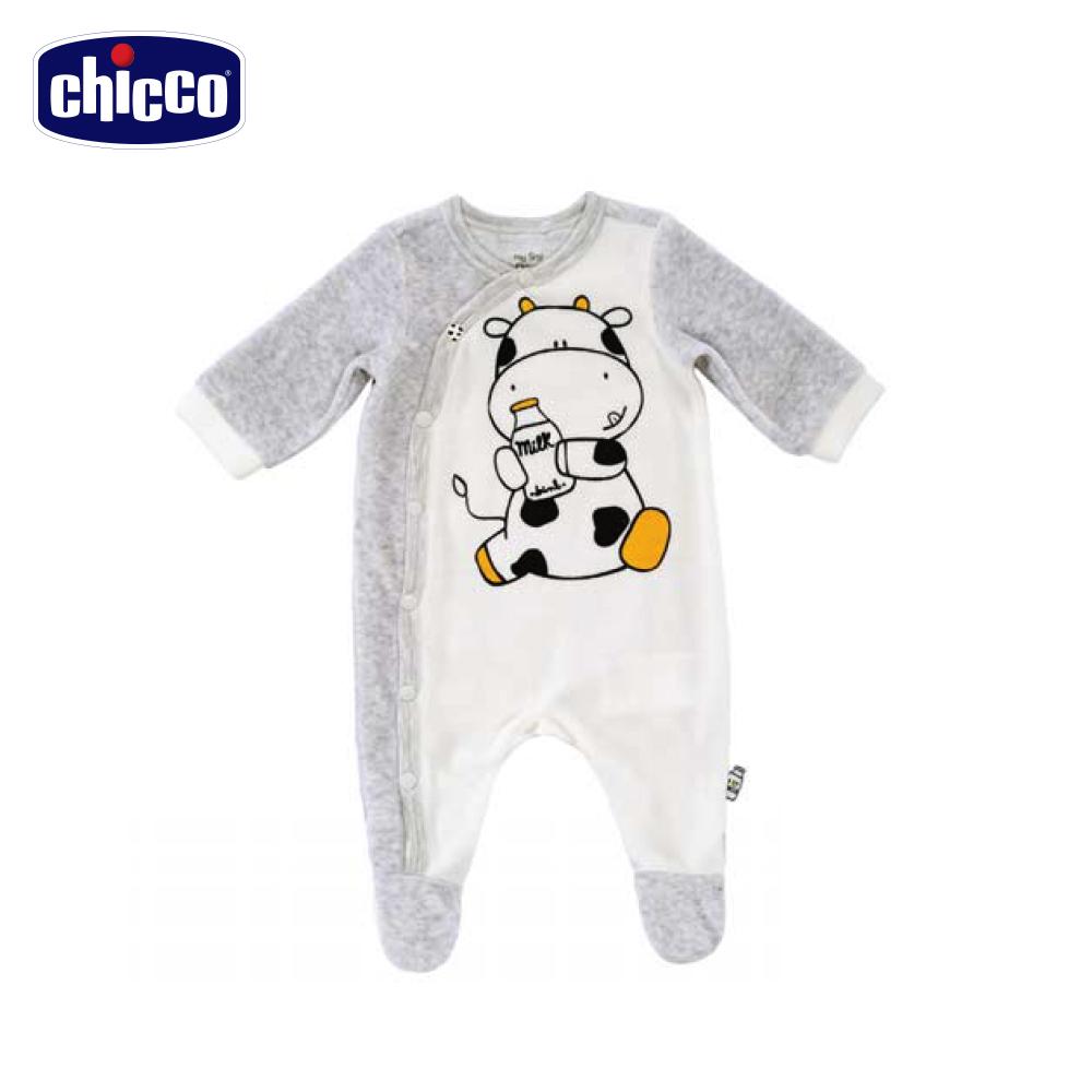 chicco小乳牛剪毛絨前開長袖兔裝-灰(3個月-12個月)