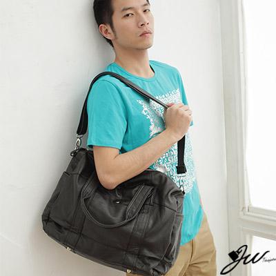 【J.W】潮男時尚類真皮大托特包(共3色-經典黑)