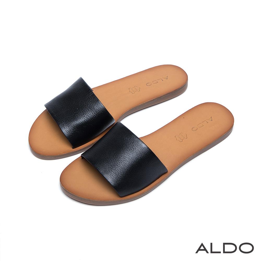 ALDO 典雅原色真皮寬版一字休閒涼鞋~尊爵黑色