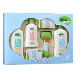 寶貝可愛 nac nac牛奶燕麥護膚禮盒五件組/附提袋