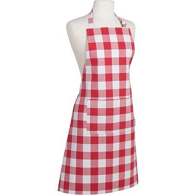 NOW 平口單袋圍裙(格子紅)