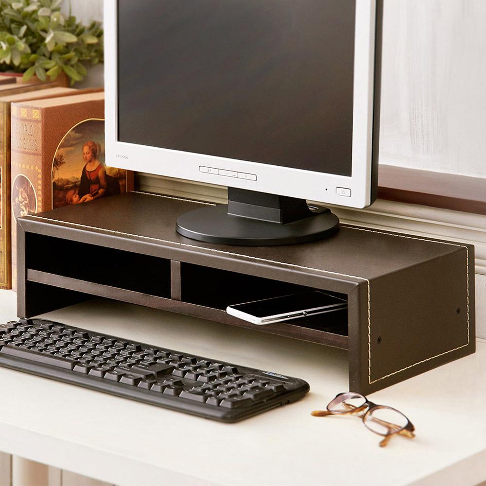 日本賀野家具 仿馬鞍皮低甲醛雙層桌上架/2入-DIY
