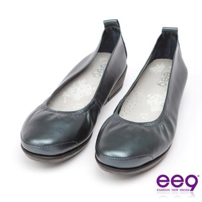 ee9-芯滿益足-通勤私藏經典率性軟牛皮素面百搭跟鞋-藍色