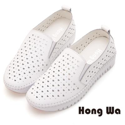 Hong Wa 甜美可愛沖孔造型牛皮樂福鞋 - 白