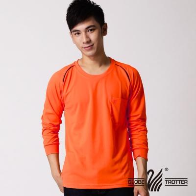 【遊遍天下】MIT台灣製中性款抗UV吸濕排汗長袖圓領衫L 038 - 1 鮮桔