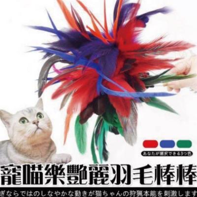 寵喵樂-艷麗羽毛逗貓棒