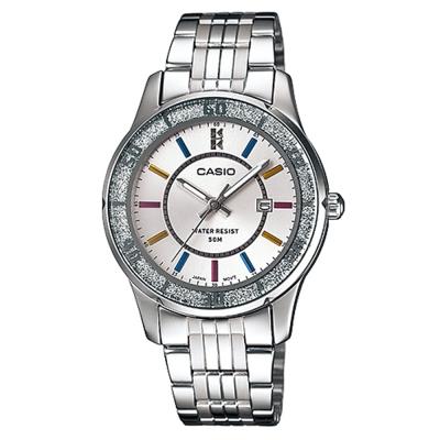 CASIO 簡約風采閃亮時尚日曆指針腕錶-(LTP-1358D-7A)-白面/34mm