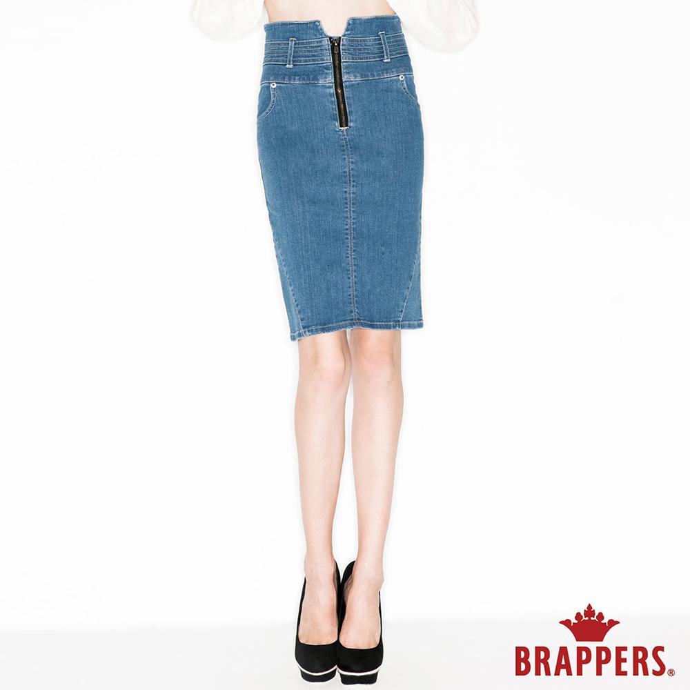 BRAPPERS 女款 新美尻Royal系列-女用彈性高腰及膝裙-藍